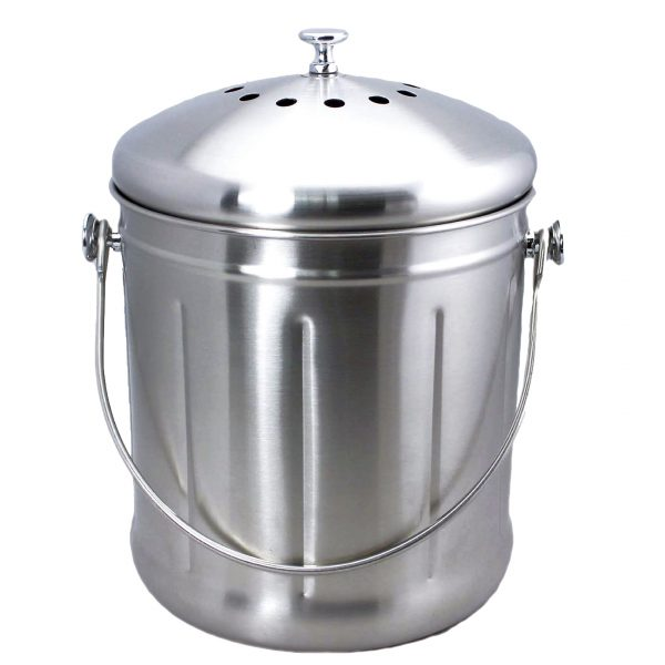 EarthHero - Recycled Stainless Steel Compost Bin - 1.8 Gallon -