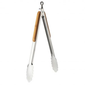 "EarthHero - Stainless Steel and Bamboo 12"" Tongs 1"