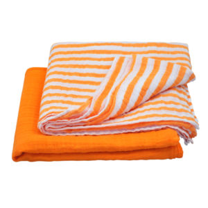 EarthHero - Organic Cotton Muslin Swaddle Blankets - Orange