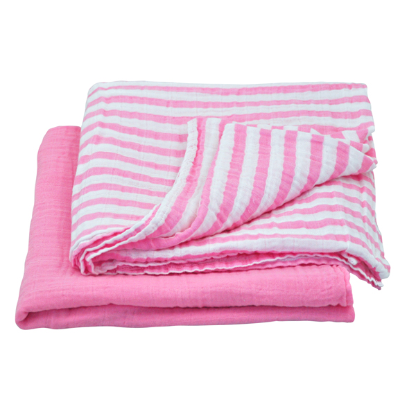 EarthHero - Organic Cotton Muslin Swaddle Blankets - Light Pink