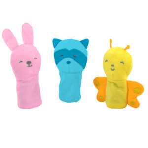 EarthHero - Organic Cotton Finger Puppets - Pink/Aqua/Yellow