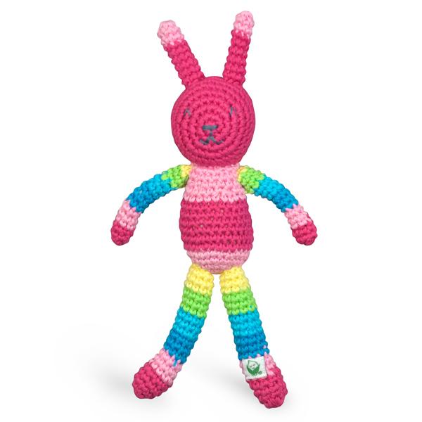 EarthHero - Animal Friend Organic Baby Rattle - Pink