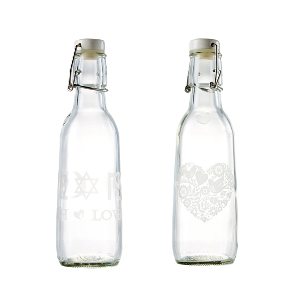 EarthHero - Love Bottle Etched Glass Water Bottle Main