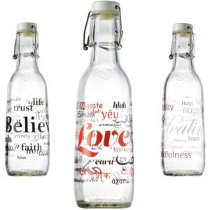 EarthHero - Power of Words Recycled Glass Water Bottle  - 1