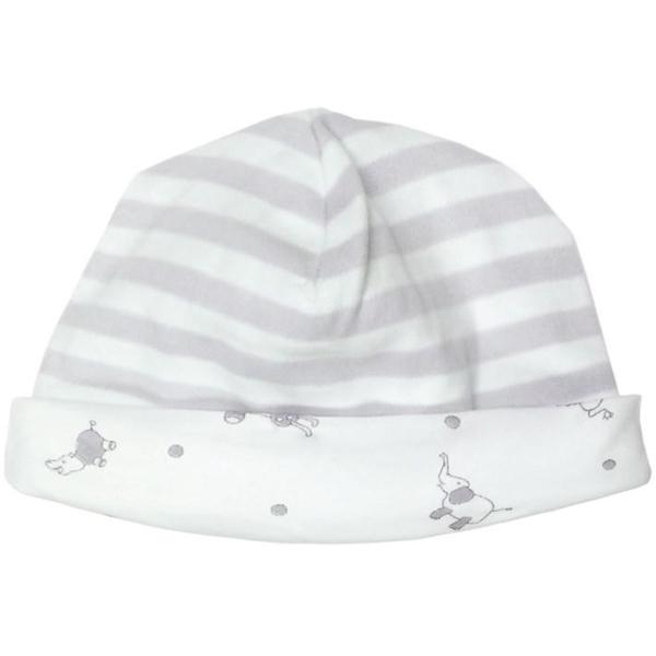 Earthhero - Patterned Organic Cotton Baby Beanie - Grey Stripe/Animal Print