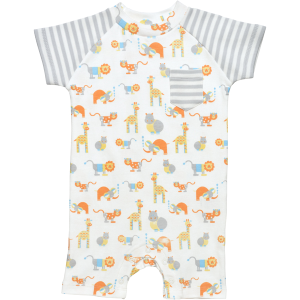 Earthhero - Safari Short Sleeve Baby Romper - Safari Print