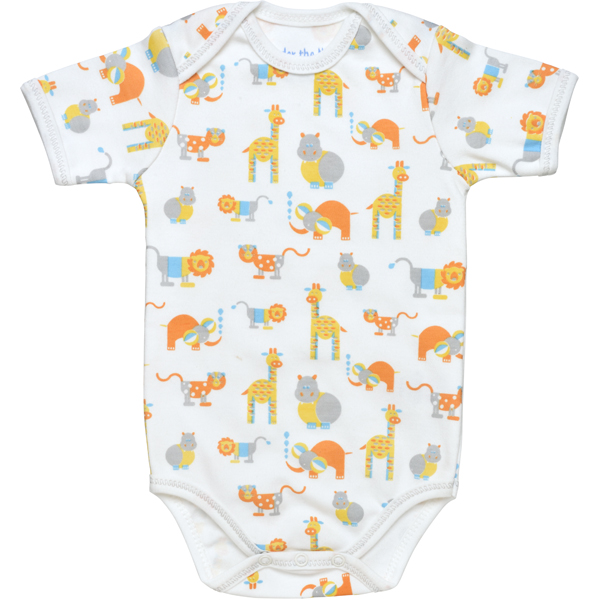 Earthhero - Safari Short Sleeve Baby Onesie - Safari Print