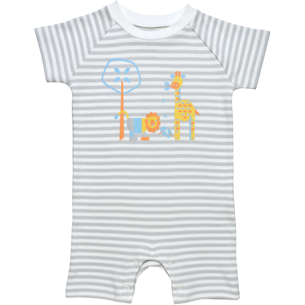 Earthhero - Stripe Safari Short Sleeve Baby Romper - Grey Stripe Safari
