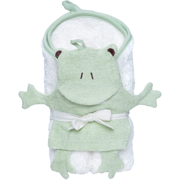 EarthHero - Frog Hooded Towel and Wash Mitt Set