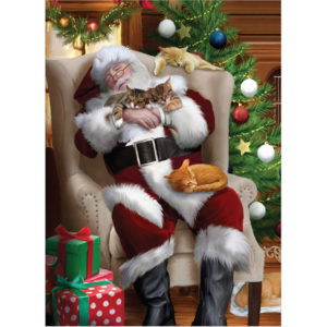 EarthHero - Cat Nap with Santa Christmas Cards (10 Pk)  1