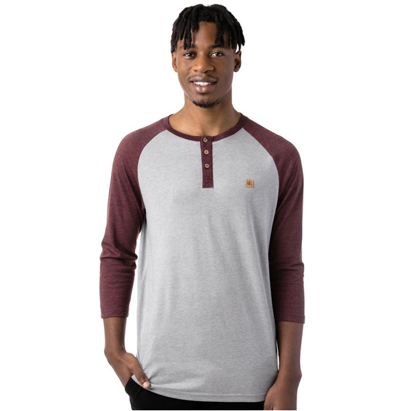 EarthHero - Eco-Blend Standard 3/4 Sleeve Red Henley 1