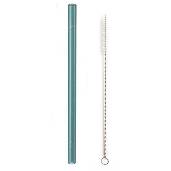 "EarthHero - Wide Glass Straw - Teal - 8"""