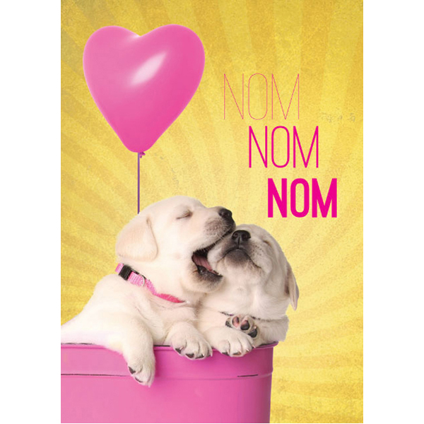 "EarthHero - Adorable Puppy ""Nom Nom"" Valentine's Day Cards (4pk) 1"