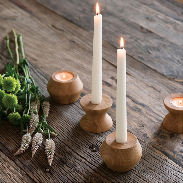 EarthHero - Highlight/Lowlight Reversible Bamboo Candle Holders - 5