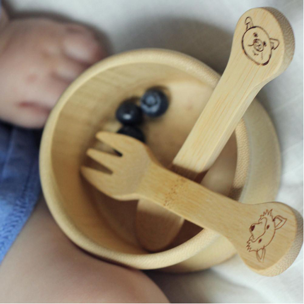 EarthHero - Kid's Bamboo Utensils Fork & Spoon - 18M+ - 4