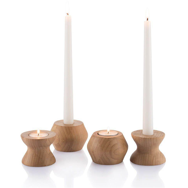 EarthHero - Highlight/Lowlight Reversible Bamboo Candle Holders - 1