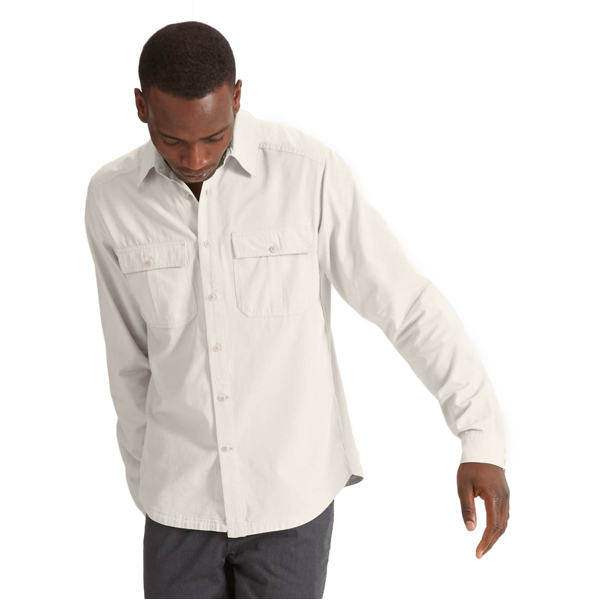 EarthHero - Men's Longsleeve Twisted Chambray Shirt - Bone