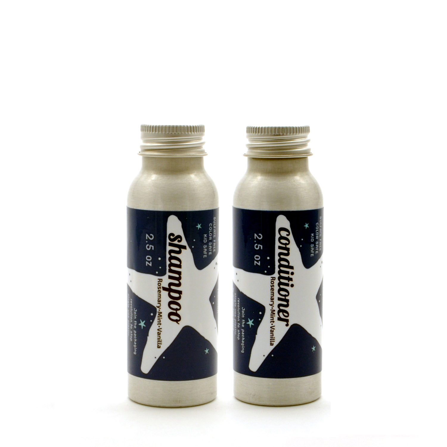 EarthHero - Plaine Products Refillable Travel Size Vegan Shampoo + Conditioner Set - Rosemary