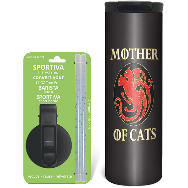 EarthHero - Mother of Cats Stainless Steel Tumbler - Coffee + Sport Lid