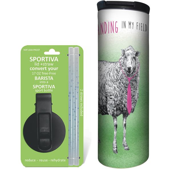EarthHero - Boho Sheep Stainless Steel Tumbler - Coffee + Sport Lid