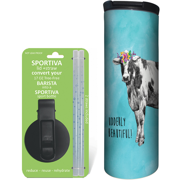 EarthHero - Boho Cow Stainless Steel Tumbler - Coffee + Sport Lid