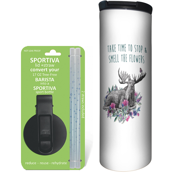 EarthHero - Boho Moose Stainless Steel Tumbler - Coffee + Sport Lid