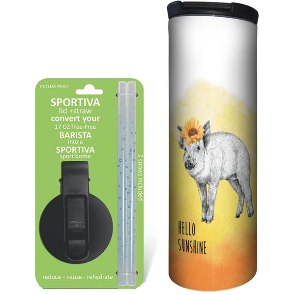 EarthHero - Boho Pig Stainless Steel Tumbler - Coffee + Sport Lid