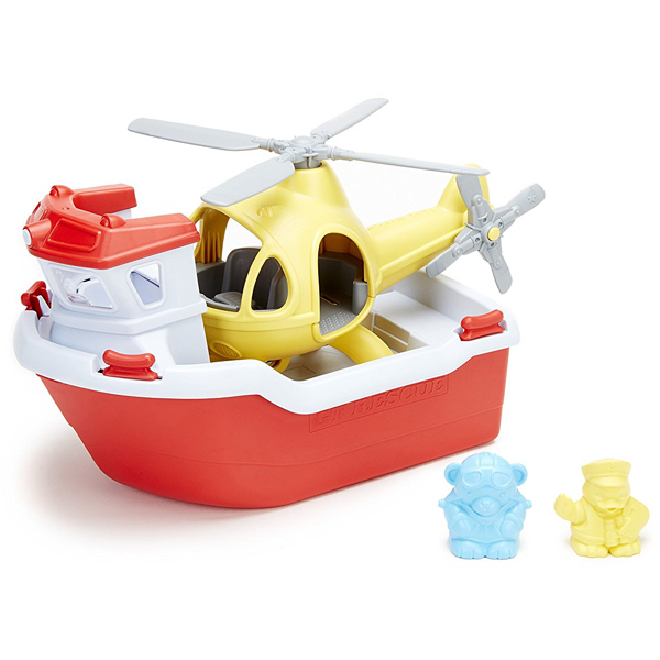 EarthHero - Rescue Boat & Helicopter Bath Toy Set - 1
