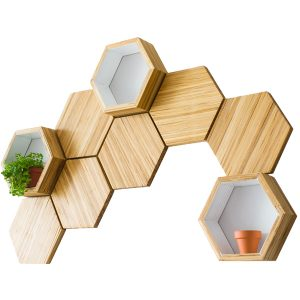 Chop Value | Bamboo Hexagon Shelves | EarthHero | Sustainable Wedding Gifts
