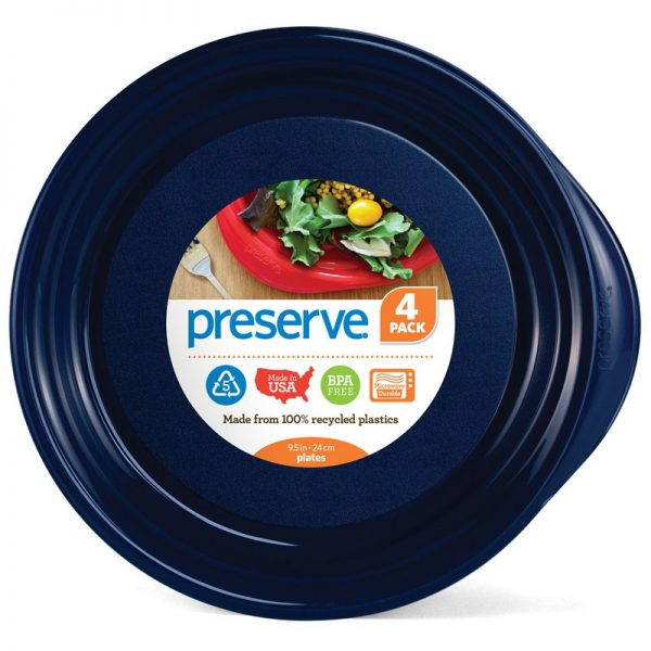 "EarthHero - Everyday Large Reusable Plastic Plates - 9.5"" (4 Pk) - Midnight Blue"