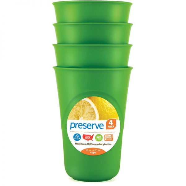 EarthHero - Everyday Reusable Plastic Cups - 16oz. (4 Pk) - Apple Green
