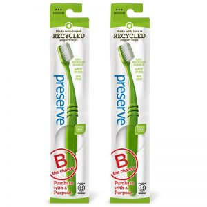 EarthHero - Medium Recycled Preserve Toothbrush - 2pk - Green