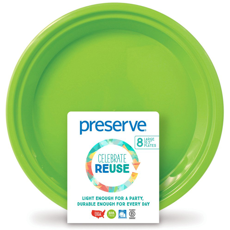 "EarthHero - On-the-Go Large Reusable Plastic Plates - 10.5"" (8 Pk) - Apple Green"