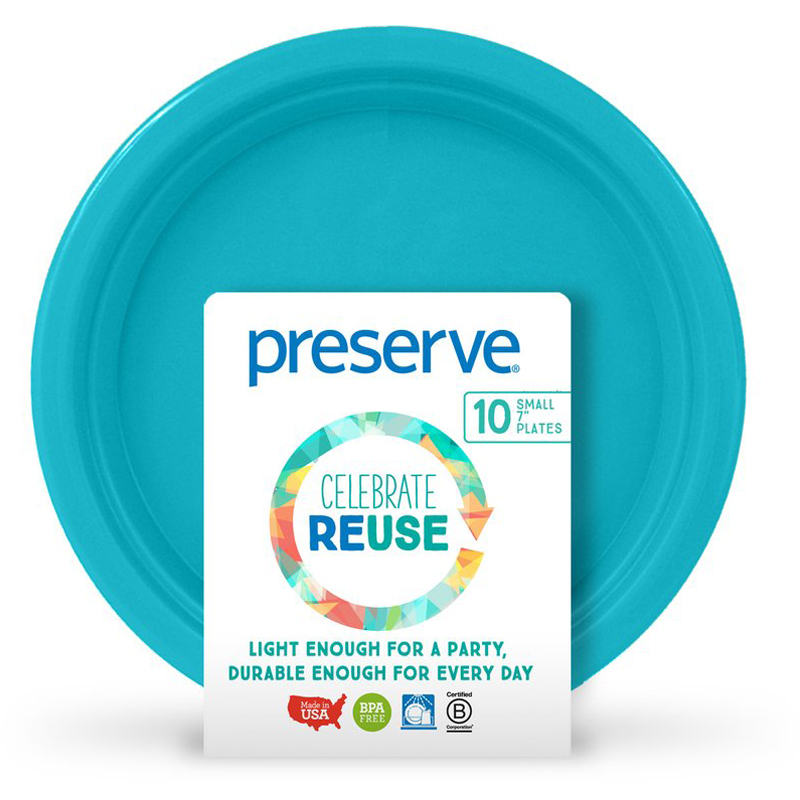 "EarthHero - On-the-Go Small Reusable Plastic Plates - 7"" (10 Pk) - Aqua"