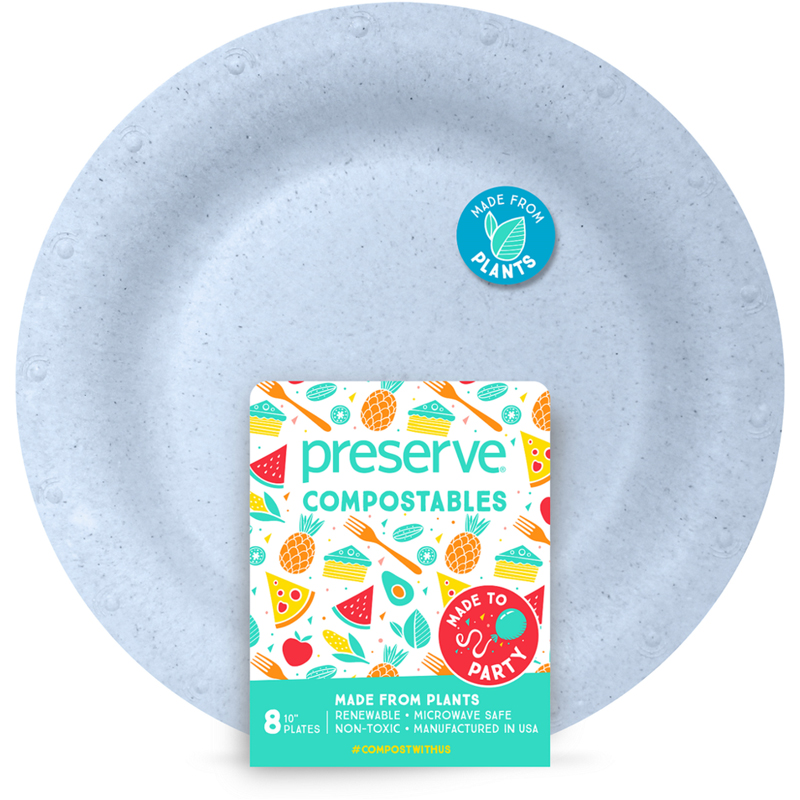 "EarthHero - Large Compostable Plates - 10"" (8 Pk) - Blue"