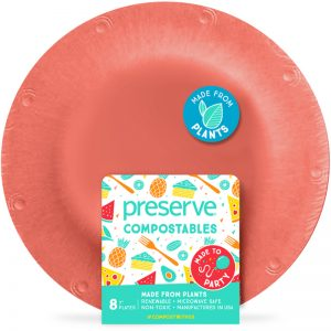 "EarthHero - Small Compostable Plates - 7""  (8 Pk) - Red"
