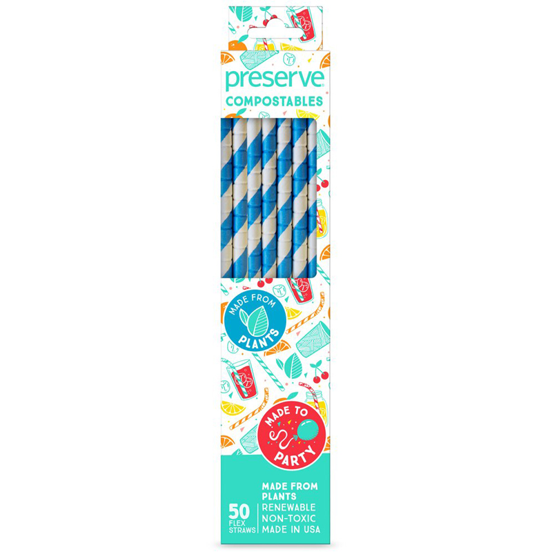 EarthHero - Paper Compostable Straws - 50ct - Blue