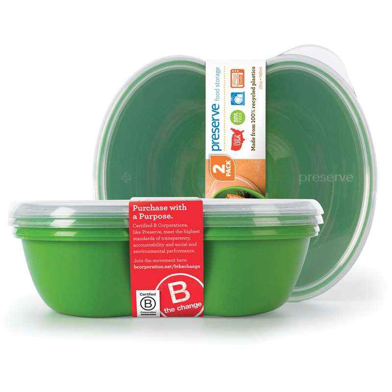 EarthHero - Square Recycled Plastic Food Storage Containers - 2pk - Apple Green
