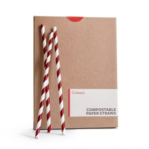 EarthHero - Compostable Paper Straws - 50pk - Red