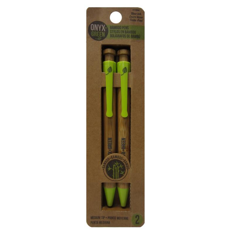 EarthHero - Retractable Ballpoint Bamboo Pen - Blue 2pk