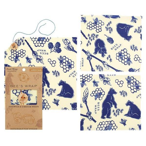 EarthHero - Bees + Bears Beeswax Wraps Lunch Pack - Assorted Sizes 2
