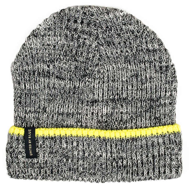 EarthHero - Marled Mariner Recycled Polyester Beanie - Charcoal & Yellow