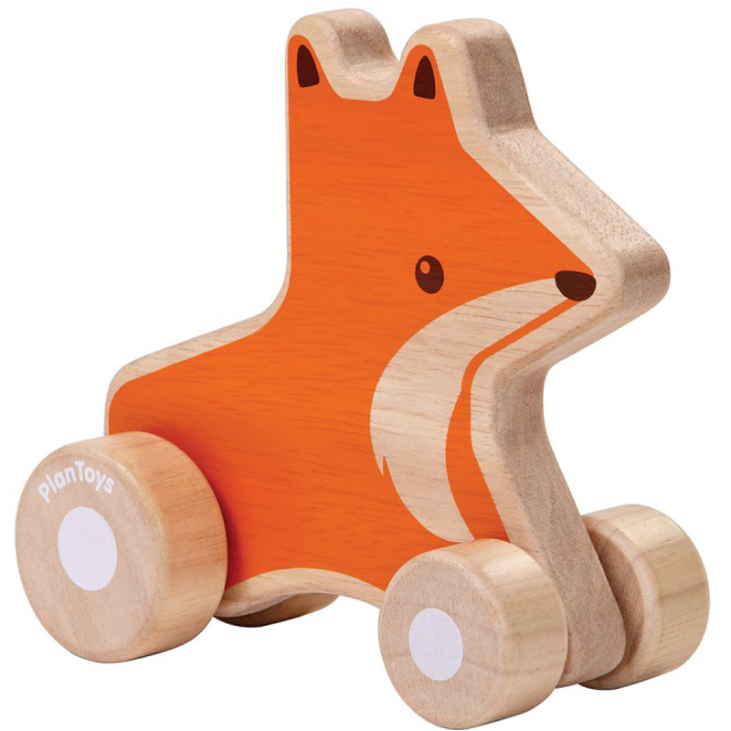 EarthHero - Fox Wheelie Wooden Baby Toy - 1