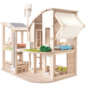 EarthHero - Green Wooden Dollhouse with Furniture - 1