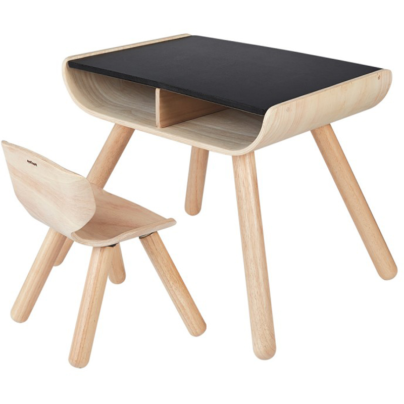 EarthHero - Kids Wooden Table & Chair - Black