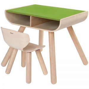 EarthHero - Kids Wooden Table & Chair - Green