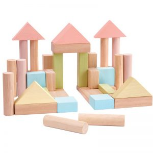 EarthHero - PlanToys Pastel Wooden Building Blocks - 40pc - 1
