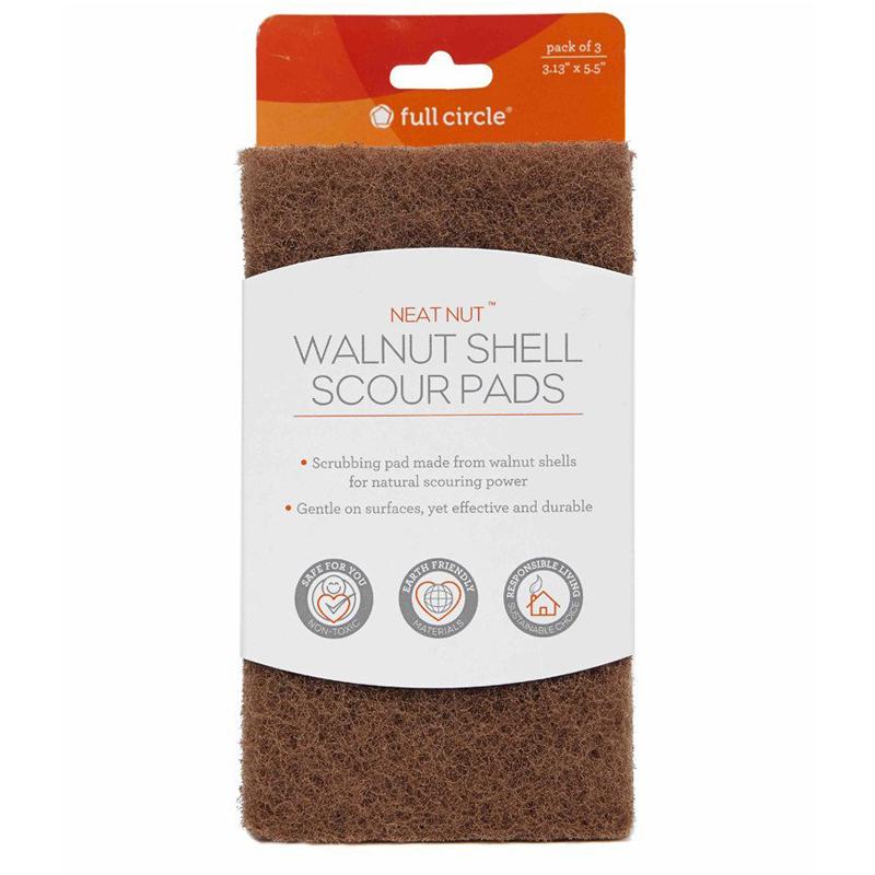 """EarthHero - """"Neat Nut"""" Walnut Sponge Shell Scour Pads (3pk) 2"""