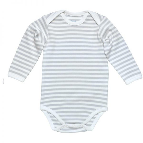 EarthHero - Grey Stripe Long Sleeve Baby Onesie 1