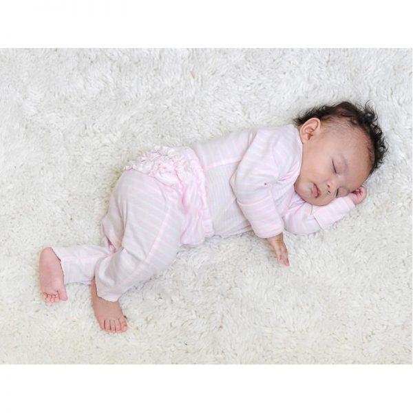EarthHero - Pink Striped Baby Ruffle Pants 3